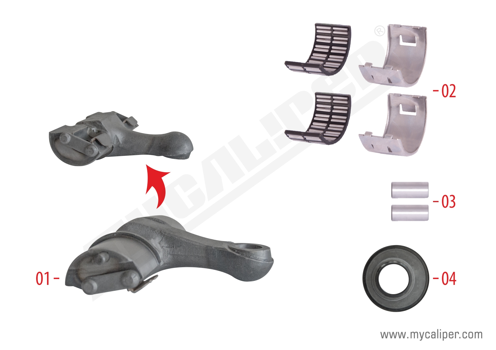 Caliper Lever Repair Kit (Axial - Right - Rear)